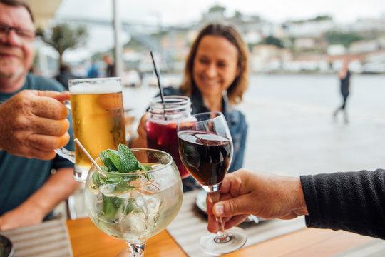 Tourists Having Drinks in Porto