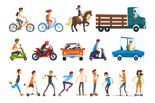 People on the street set, various vehicles cartoon vector Illustration on a white background