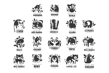 Save wild animal logo design set, protection of african animals black and white sign vector Illustrations on a white background