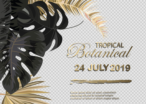 Vector vertical wedding invitation cards set with black and gold tropical leaves on dark background. Luxury exotic botanical design for wedding ceremony. Can be used for cosmetics