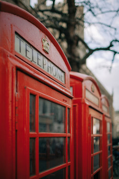 Traditional british phone boxes on the streets of London