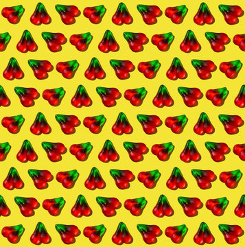 Cherry Gummy Candy Pattern on Yellow