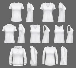 Women white tank top t-shirts, sportswear mockups