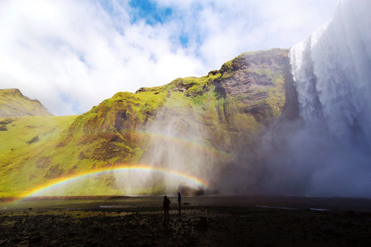 Skogafoss waterfall with double rainbow