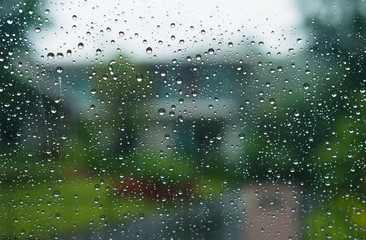 Rain drops on window, Drops of water on the glass, design the background.