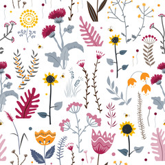 Wall Mural - Vector nature seamless background with hand drawn wild herbs, flowers and leaves on white. Doodle style