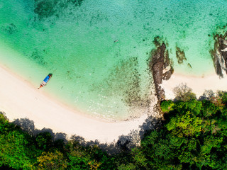 Aerial view of tropic sea, sand beach and nature