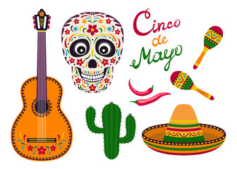 Cinco de Mayo icon set. Vector illustration of guitar, maracas and chili pepper. Cute skull, sombrero and cactus in cartoon flat style.