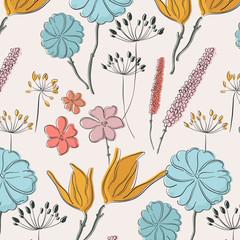 Fototapeta Flower summer fabric pattern. Spring waterclor line art paradise botanical print. Vintage garden floral decoration.