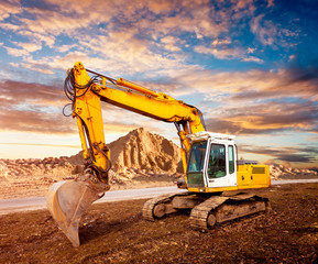 Excavator on the construction site