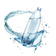 Vector illustration of water splashes around plastic bottle isolated on background