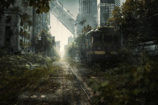Überwuchte Endzeit Stadtszene
