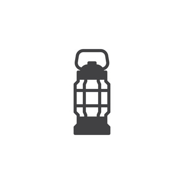 Camping lantern vector icon. Handle torch filled flat sign for mobile concept and web design. Camp oil lamp glyph icon. Symbol, logo illustration. Pixel perfect vector graphics