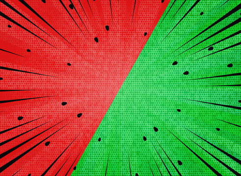 Abstract sun burst  contrast watermelon red and green colors background. illustration vector eps10