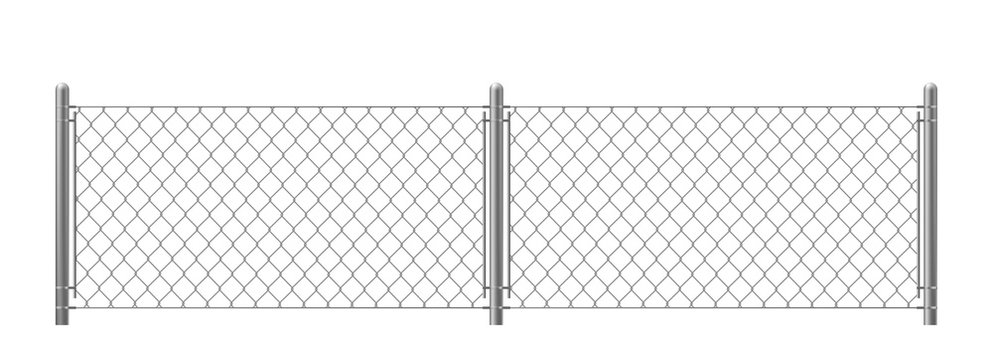 Wire fence isolated on white background. Two segments rabitz gate with rhombus cell, perimeter protection barrier construction separated with poles. metal steel grid. Realistic 3d vector illustration.