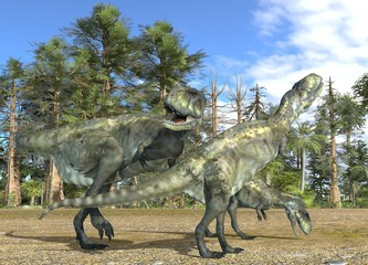 Dinosaurs 3d illustration against the background of the Mesozoic Forest