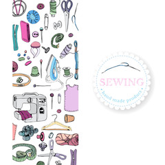 Vertical rectangle composition with   items for sewing. Hand drawn ink and colored sketch of different elements isolated on white background.