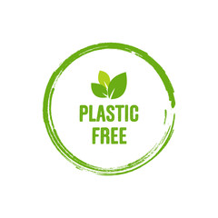 Plastic free green icon badge. Bpa plastic free chemical mark. Vector stock illustration. Isolated on white background.
