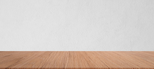 close up shot of mockup plain white cement wall texture panoramic background with brown wood panel table top shelf  perspective for show, ads , promote product on display concept