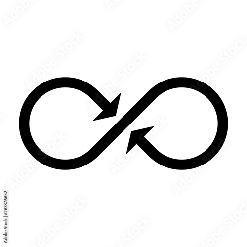 846d62f57f964 Infinity symbol icon with both side arrows. Concept of infinite, limitless  and endless. Simple flat black vector design element
