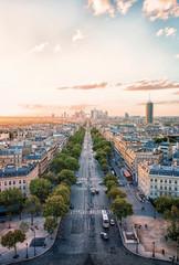 Fototapete - La Defense district viewed from the Arc de Triomphe