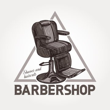 Barber shop vector triangular sketch emblem. Engraving vintage label or badges with classic barbershop armchair and typography
