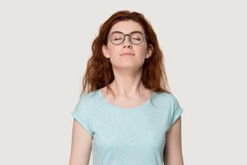 Fototapeta Happy red-haired girl breathe fresh air enjoying smell