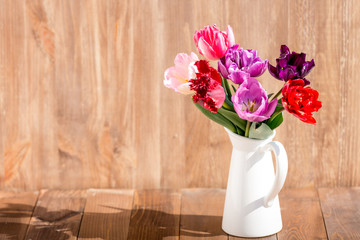 tulips bouquet in vase, colorful tulips flowers spring background