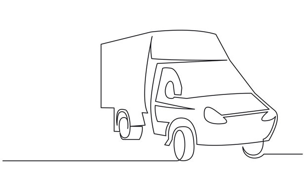 Cargo van continuous one line vector drawing