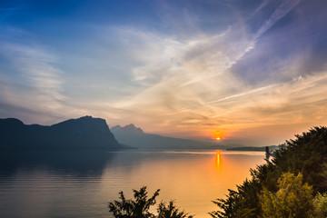 Gorgeous bright sunset . Lake Lucerne.