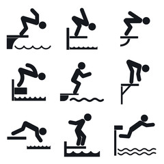 Diving board icons set. Simple set of diving board vector icons for web design on white background