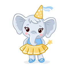Little elephant stands in a beautiful yellow dress on a white background.