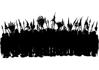 Fantasy silhouette of medieval army/ Illustration combined group of warriors in armor with banners and spears