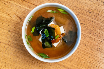 Japanese miso soup in ceramic bowl