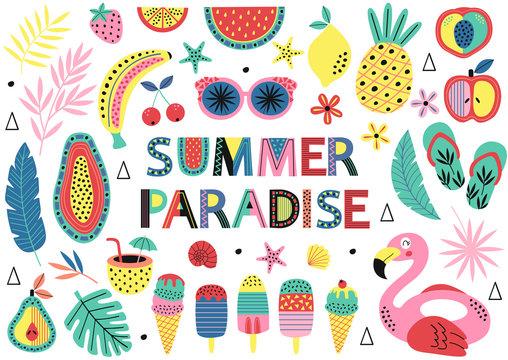 set of isolated elements of summer paradise  - vector illustration, eps