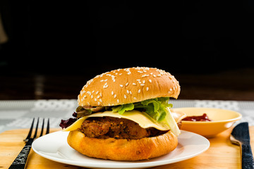 Homemade chicken burger with cheese and vegetable in white plate