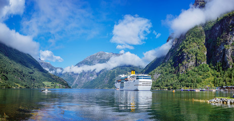 Hurtigruten cruise liner sailing on the Geirangerfjord, one of the most popular destination in Norway