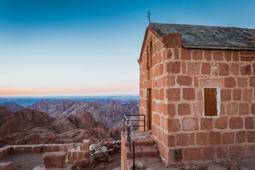 Chirch on top of Mount Moses at Sinai desert Egypt at dawn