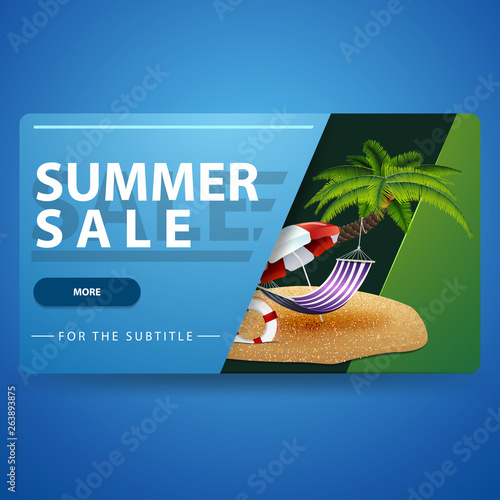 Summer sale, modern green 3D volumetric web banner for your