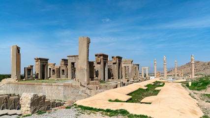 The palace of Xerxes at Persepolis, called Hadiš in Persian. Persepolis, an ancient ceremonial capital of Persian Empire, in modern Iran