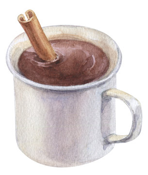 Watercolor hand painted delicious hot chocolate with cinnamon stick in a white mug isolated on white