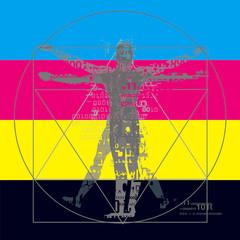 Vitruvian man with binary codes on CMYK color stripes background. Futuristic expressive Illustration of vitruvian man with a binary codes symbolized digital age. Concept graphic design and color pri