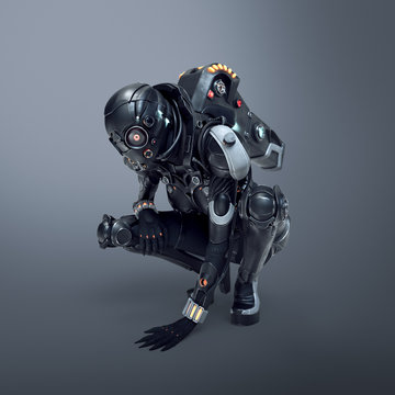 Science fiction cyborg female squatting putting her palm on the floor. Sci-fi girl sitting on her haunches and looking at the floor. Girl in futuristic black armor suit. 3D render on gray background.