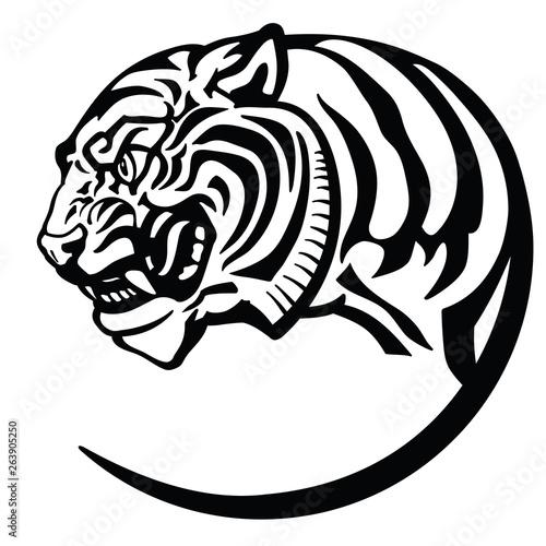 eb0c544e38a54 tiger head. Logo icon emblem badge tattoo .Black and white Isolated vector  illustration