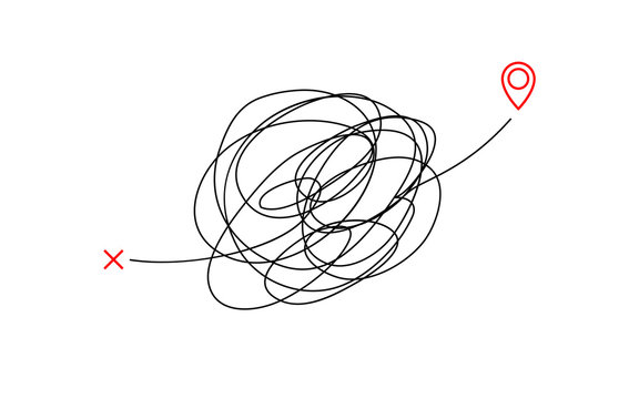 insane messy way complicated destination illustration concept graphic. tangled scribble line vector path doodle design.