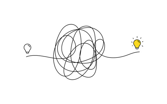 very hard thinking of inspiration idea through a complicated way illustration. light bulb off to on with messy line symbol. tangled scribble line vector path doodle design.
