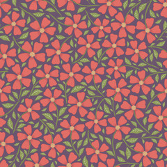 Hand drawn pretty red flowers and leaves ditsy floral design. Vector seamless pattern on dark purple background. Great for wellness, beauty products, fashion prints, stationery, packaging, giftwrap.