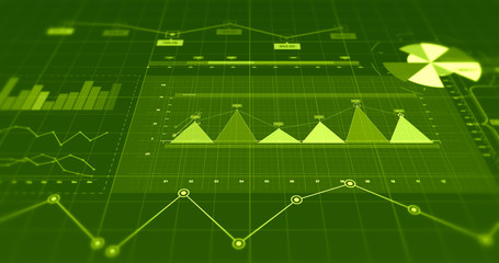 Financial Business Charts And Graphs Infographics. Economy Related 3D Illustration Render