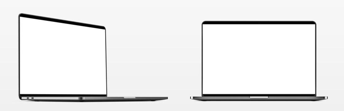 Laptop with blank screen isolated on white background, white aluminium body. Whole in focus. High detailed. Template, mockup.