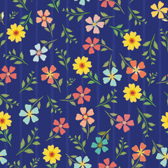 Variety of hand drawn multicolor flowers and leaves. Vector seamless pattern on blue background with subtle stripes. Great for wellness, beauty, garden products, stationery, packaging, giftwrap